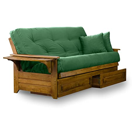 Nirvana Futons Brentwood Tray Arm Futon Frame, Drawers, and Hunter Green Mattress Set - Full, Rich Heritage Finish