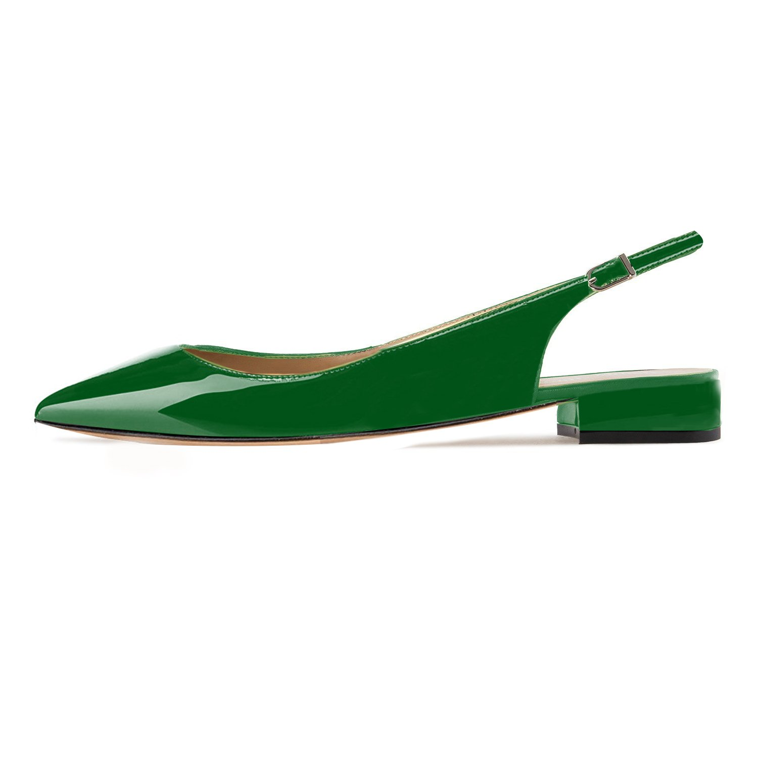 Eldof Women Pointed Low Heels Pumps | Pointed Women Toe Slingback Flat Pumps | 2cm Classic Elegante Court Shoes B07C4YCDJ2 6 B(M) US|Patent Green 5142c7