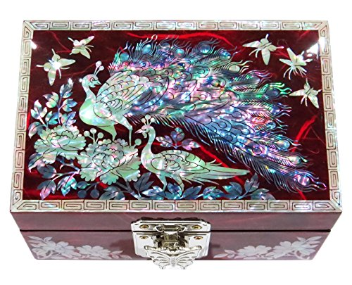 MADDesign Jewelry Watch Box Ring Organizer Hand Made Mother of Pearl Sea Shell Inlay Mirror Lid Peacock (Red)