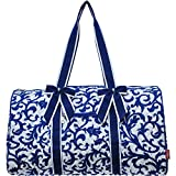 Royal Blue Damask print Quilted Ribbon Accent Gym Travel Dance Cheer Duffle Bag