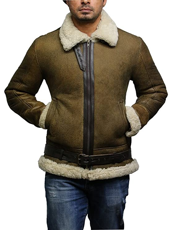 Brandslock Mens Pilot Aviator B3 WWII Flying Cockpit Genuine Shearling Sheepskin Leather Bomber Jacket Thick Wool Inside at Amazon Mens Clothing store: