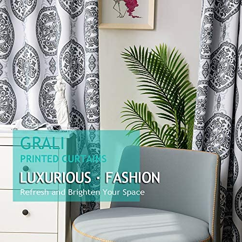 GRALI-DECOR Black White Room Curtains, Sun Blocking Dusty Proof Patterned Fabric for Dining Room Grommet Curtain Panels 52W x 95L, 2 Pcs
