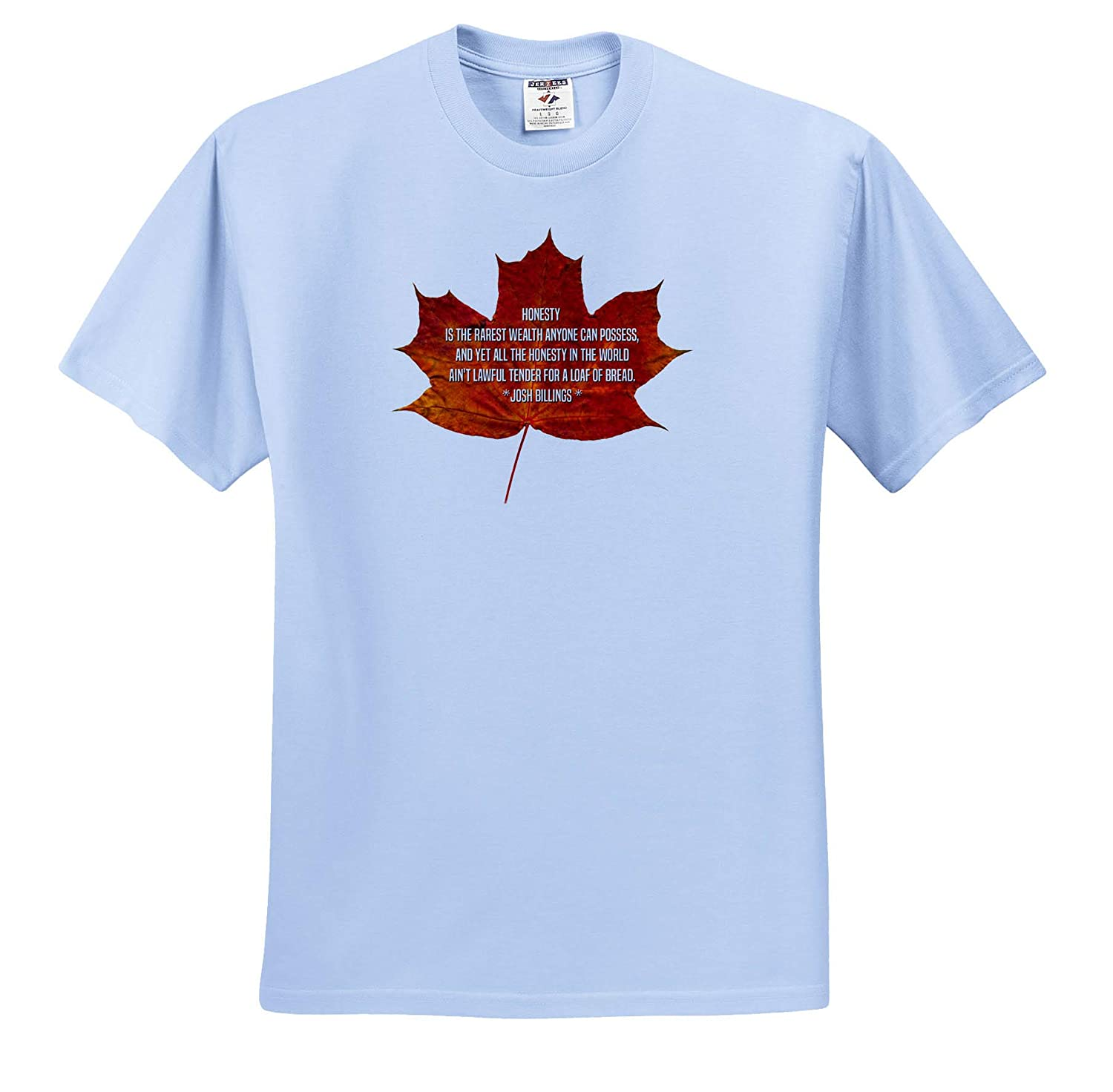 3dRose Alexis Design Orange Maple Leaf and The Text Honesty is The Rarest Wealth - T-Shirts Quotes Josh Billing