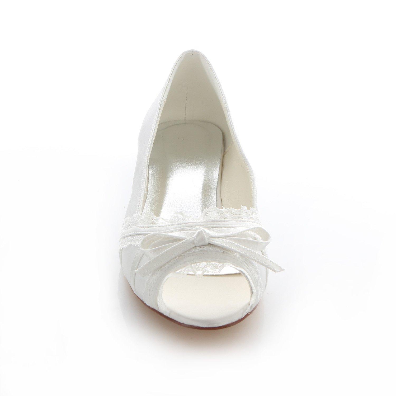 Emily Bridal Elfenbein Peep Toe Bridal Lace Wohnungen Bow Lace Bridal Satin Hochzeitsschuhe Für Frauen 4afc8a