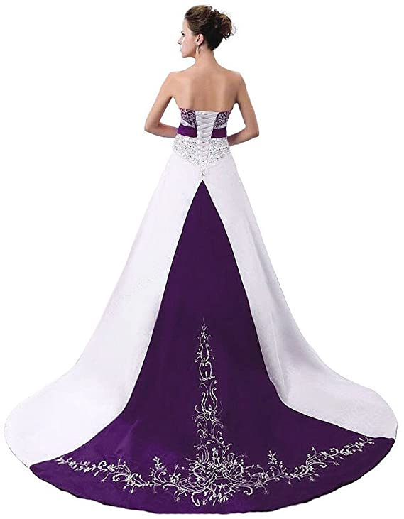Snowskite Womens Strapless Satin Embroidery Wedding Dress 4 Ivory&Purple: Amazon.co.uk: Clothing