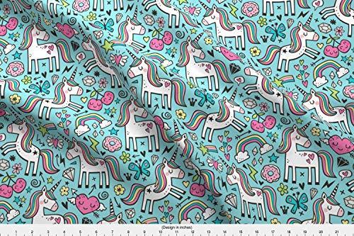 Unicorn Fabric - Unicorn Unicorns Hearts Valentine Valentines Day Rainbow Spring - by Caja Design Printed on Cotton Spandex Jersey Fabric by The Yard (Jersey Rainbow Cotton)