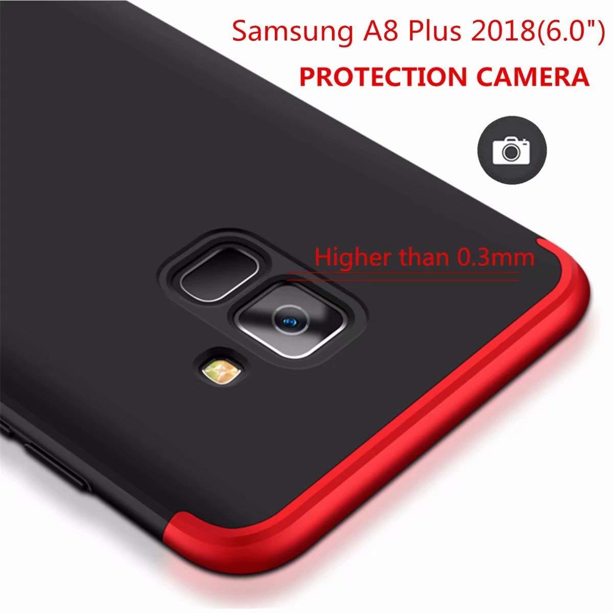 Plata Negro AILZH Compatibles para Funda Samsung Galaxy A8 2018 Carcasa+ Cristal Templado 360 Grados Caja protecci/ón de c/áscara Dura Anti-Choque Anti-rasgu/ño Caso Mate Bumper Anti-Shock Case Cover