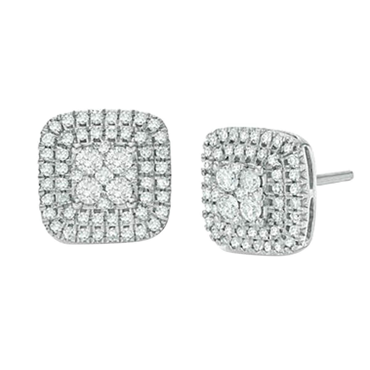 14K White Gold 0.50 Ct Round Cut Simulated Diamond Cushion Stud Earrings