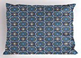 Lunarable Arabian Pillow Sham, Ancient Morocco Culture Old Tile Design with Abstract Star and Round Floral Motifs, Decorative Standard Size Printed Pillowcase, 26 X 20 inches, Multicolor