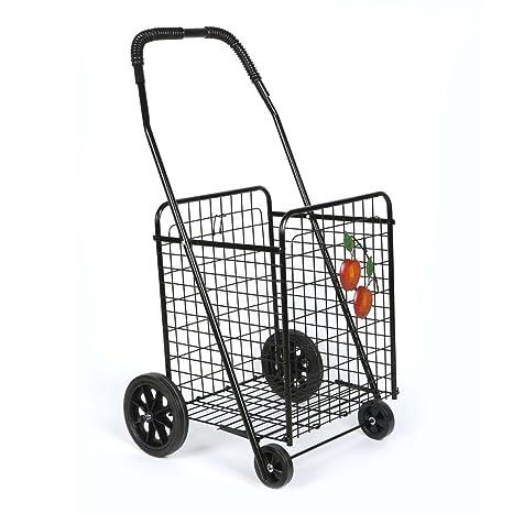 Plegable supermercado carrito de la compra carrito de la compra con marco de metal negro cesta