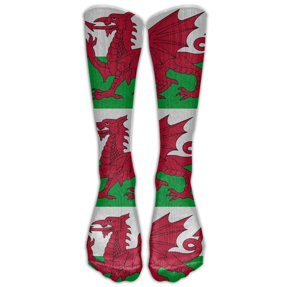 Welsh Dragon Flag Casual Unisex Sock Knee Long High Socks Sport Athletic Crew Socks 50cm