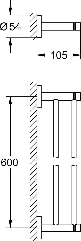 GROHE Essentials Badaccessoires Doppel Badetuchhalter verdeckte Befestigung 600 mm