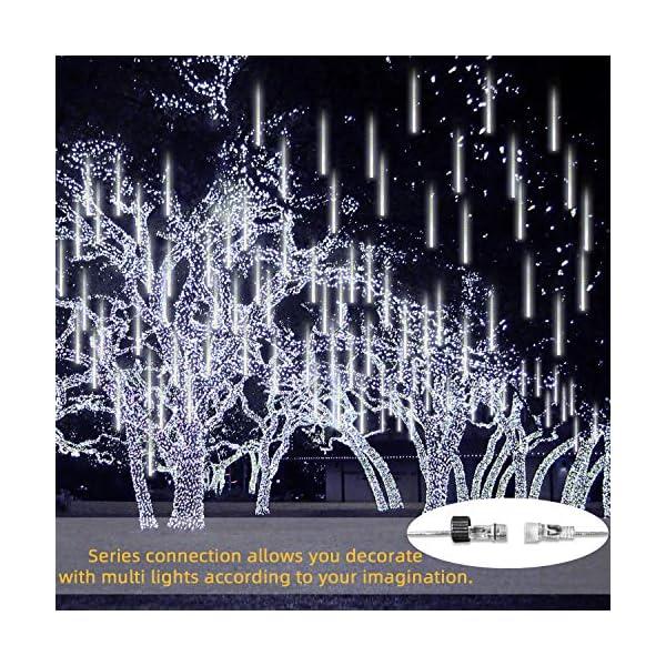 GPODER Doccia Pioggia Luci 30CM, 8 Impermeabile Spirale Tubo Luci della Pioggia di Meteore, 288 LEDs Waterfall Light per Natale/Esterno/Albero/Casa/Giardino/All'Aperto Decorazione(Bianco) 4 spesavip