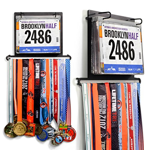 Gone For a Run BibFOLIO Plus Race Bib and Medal Display | Wall Mounted Medal Hanger – Displays up to 24 medals and 100 race bibs Clip Art Certificate