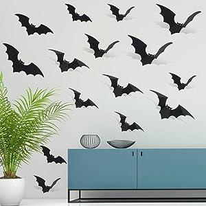 30Pcs Black Glittery Halloween 3D Bats Stickers Black Plastic Wall Bat Decals- Halloween Door Decorations,Black Bat Decor,Halloween Home Window Decor,Best Halloween Decals,Scary Spooky Hanging Bats