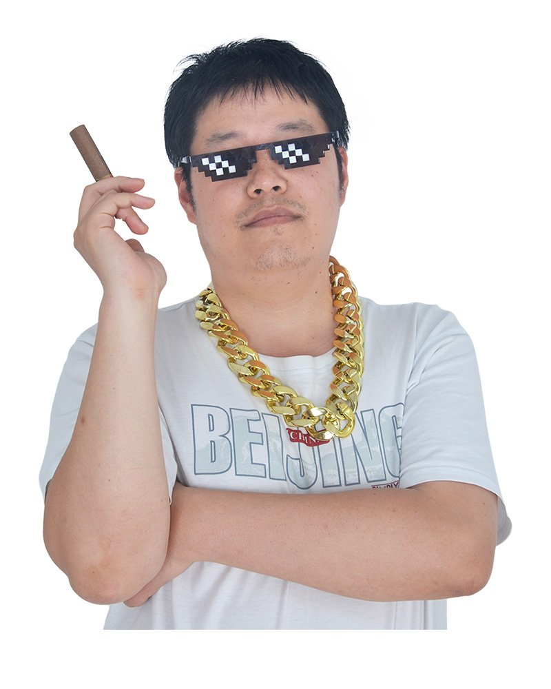 Coskidz Thug Life Cosplay Kit Including Fake Glasses,Golden Chain and Cigar (One Size) by Coskidz
