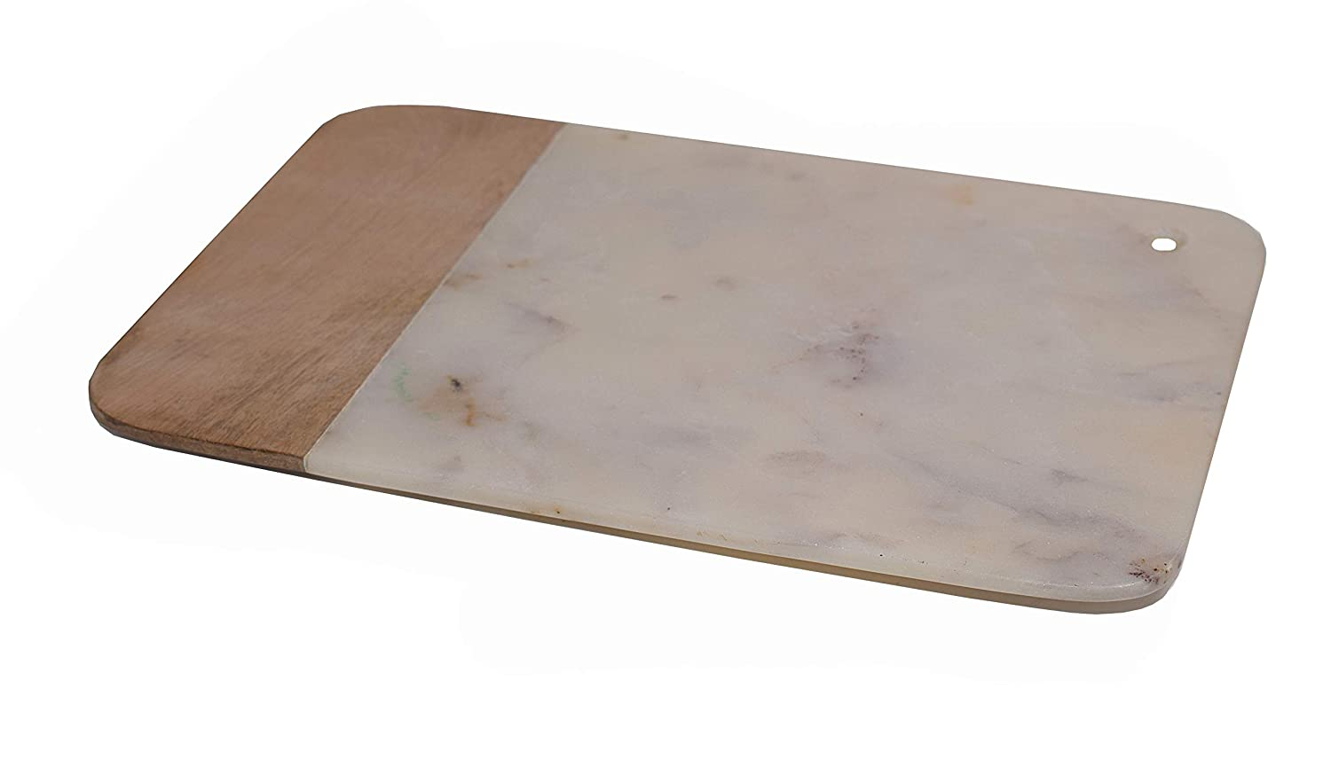 Hashcart Wood and White Marble Chopping Board, Chopper, Rectangular Cutting Board | for Bread, Fruits,Vegetables Meat and Cheese Serving Tray