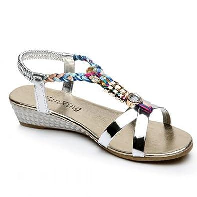 Ouneed® Sommer Strass Frauen flache Sandalen für Frauen Mode Freizeit Sandalen Komfortable Strand Schuhe Sandalen Flip Flops Damen Erwachsene Zehentrenner (36, Rot)