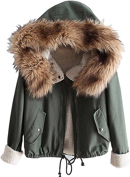 Minetom Damen Warm Verdicken Winterjacke Mantel Mit Plüsch