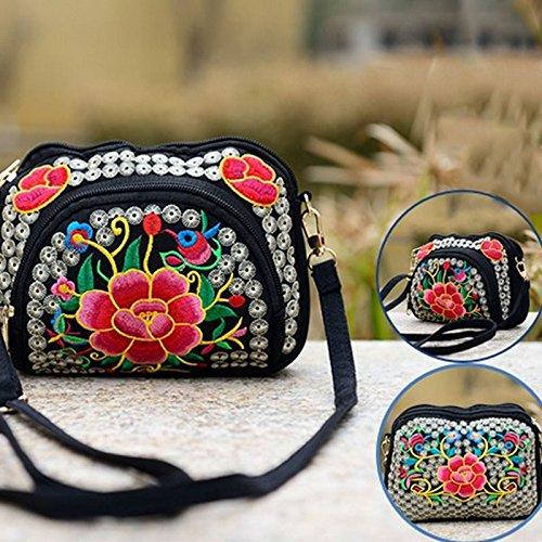 Estilo de Messenger Mujeres Nacional Bolsa de Lona Nuevas Espeedy bolsa Bag 2017 4 de Hombro Lienzo Bordado Flor la qaxwn7HXB