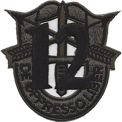 - 12th Special Forces Group Crest OD Green Black 12 Patch