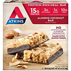 Atkins Protein-Rich Meal Bar, Almond Coconut, 5 Count