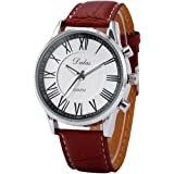 Dalas Roman Style White Analog Brown Leather Sport Men's Wrist Quartz Watch WAA446