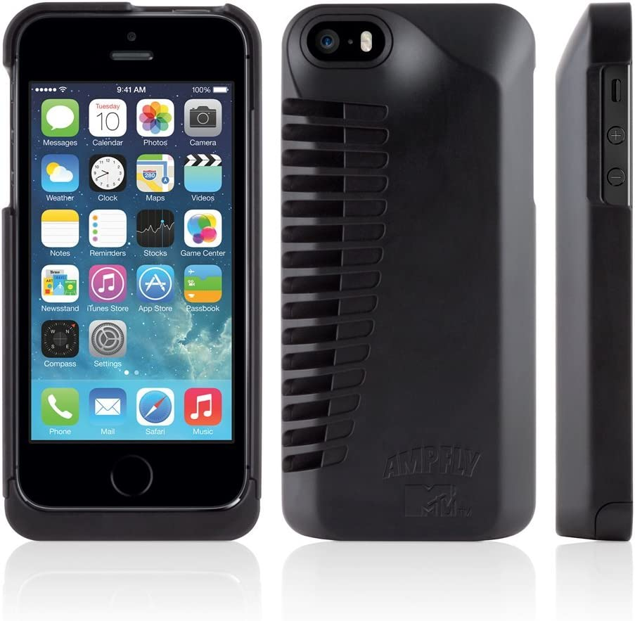 Ampfly Speaker Case in Partnership with MTV for Apple iPhone SE 5s 55S Black