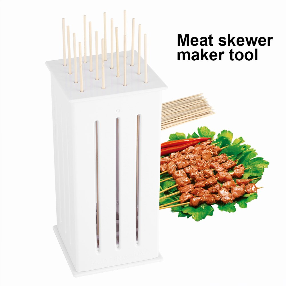 16 Holes BBQ Skewers Food Meat Slicing Cutter Brochette Grill Kebab Maker Box with Some Bamboo Sticks Durable Barbecue Kit Yosoo