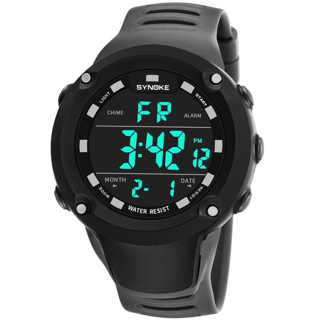 RTYou LED Sports Watch,New Style SYNOKE Men's Multi Function Military Sports Watch LED Digital Dual Movement watch (Gray B)