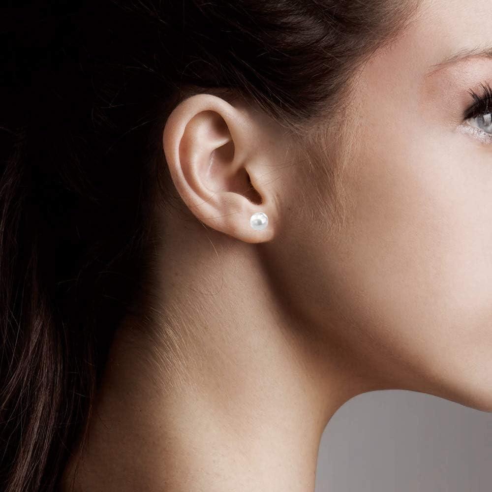 HOULIFE Femme Stud Earrings Boucles d/'Oreilles A Tige 0.8mm Argent/é Or en Acier Inoxydable avec Perles Boule Clous d/'Oreilles Lot de 4 Paires