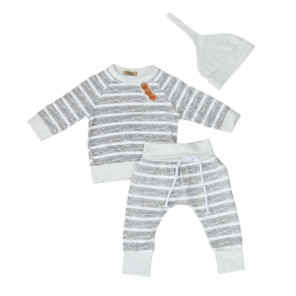 Sumen 3pcs Set Baby Boy Girl Clothes Stripe T-shirt Tops+Pants+Hat Outfits bessky