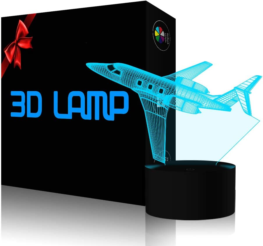 Creatively 3D Plane Lights LED Airplane Night Light, YKLWORLD 3D Aero Plane Illusion Table Lamp with 7 Colors and USB Powered, Best Bedroom Decor Toys Gifts for Kids Children Birthday