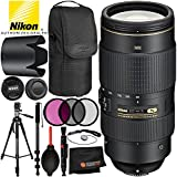 Nikon AF-S NIKKOR 80-400mm f/4.5-5.6G ED VR Lens - 7PC Accessory Bundle Includes 3PC Filter Kit (UV, CPL, FLD) + 72 Full-Size Tripod + 72 Full-Size Monopod + Lens Cleaning Pen + MORE
