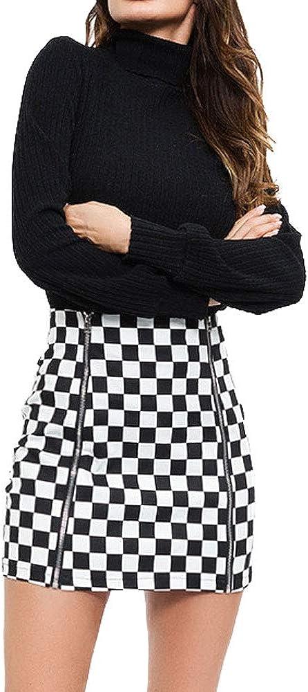 Faldas para mujer con cremallera frontal minifalda de piel para l/ápices.