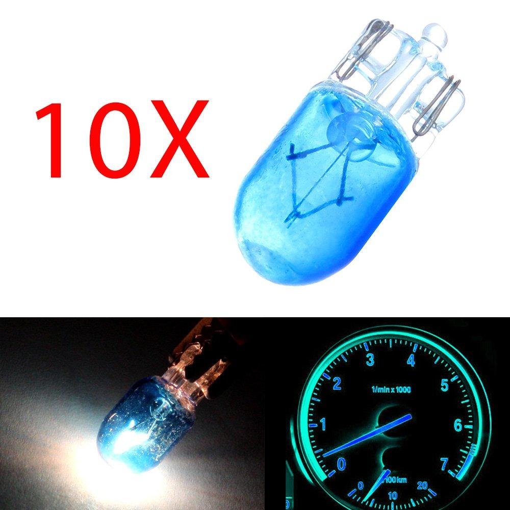 cciyu 10 pcs T10 168 194 W5W Blue Halogen Light Bulb Instrument Cluster Gauge Dash Lamp 12V 5W