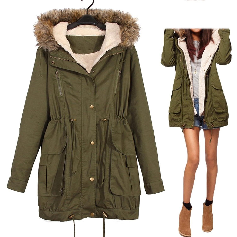 Winter Women Thicken Warm Lined Coat Faux Fur Hoodie Overcoat Long Parka Jacket Outwear