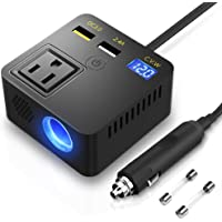 KOYOSO - Inversor de corriente para coche de 120 W, 12 V CC a 110 V CA, convertidor con cargador USB dual 3.0 y…