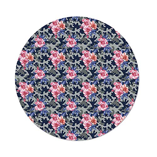 - iPrint Polyester Round Tablecloth,Camo,Victorian Theme Pink Retro Design Roses Urban Fashion Nature Feminine,Pink Violet Blue Sage Green,Dining Room Kitchen Picnic Table Cloth Cover Outdoor Indoor