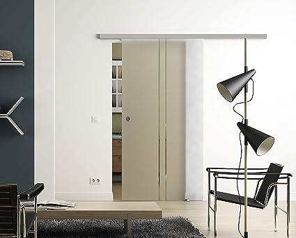 Sadora® - Puerta corredera de cristal con 2 rayas, sistema Slimline, riel completo y cristal: Amazon.es: Bricolaje y herramientas
