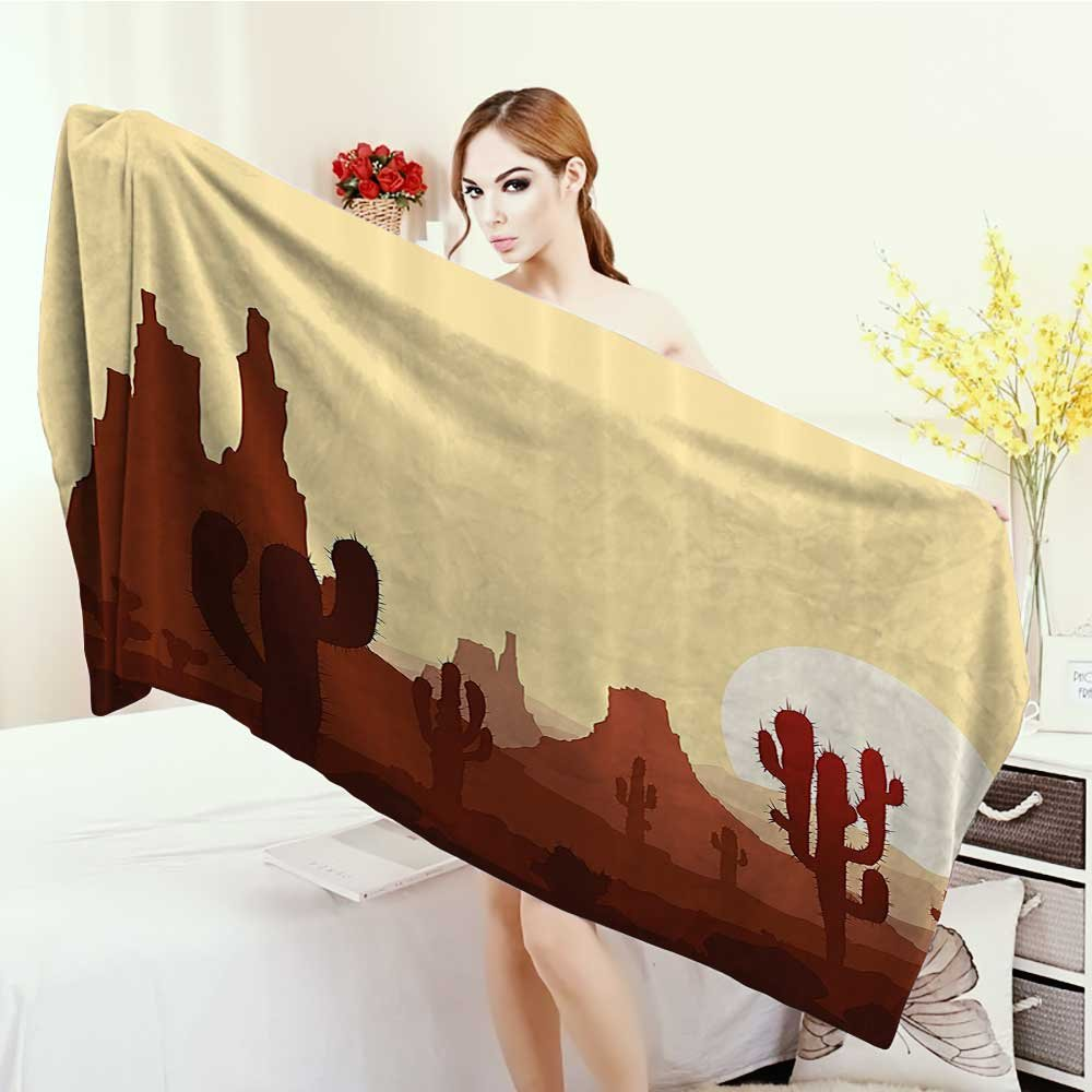 Thick Towels Cactus Decor Arid Country Landscape with Sunset in Stone Desert Saguaro Mountains 3D Printed Microfiber Beach Towel 55''x27.5'' Yellow Brown Redwood