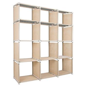 Azadx 12 Cube 4 Tier Storage Closet Organization System DIY BookShelf Cabinet For Kids