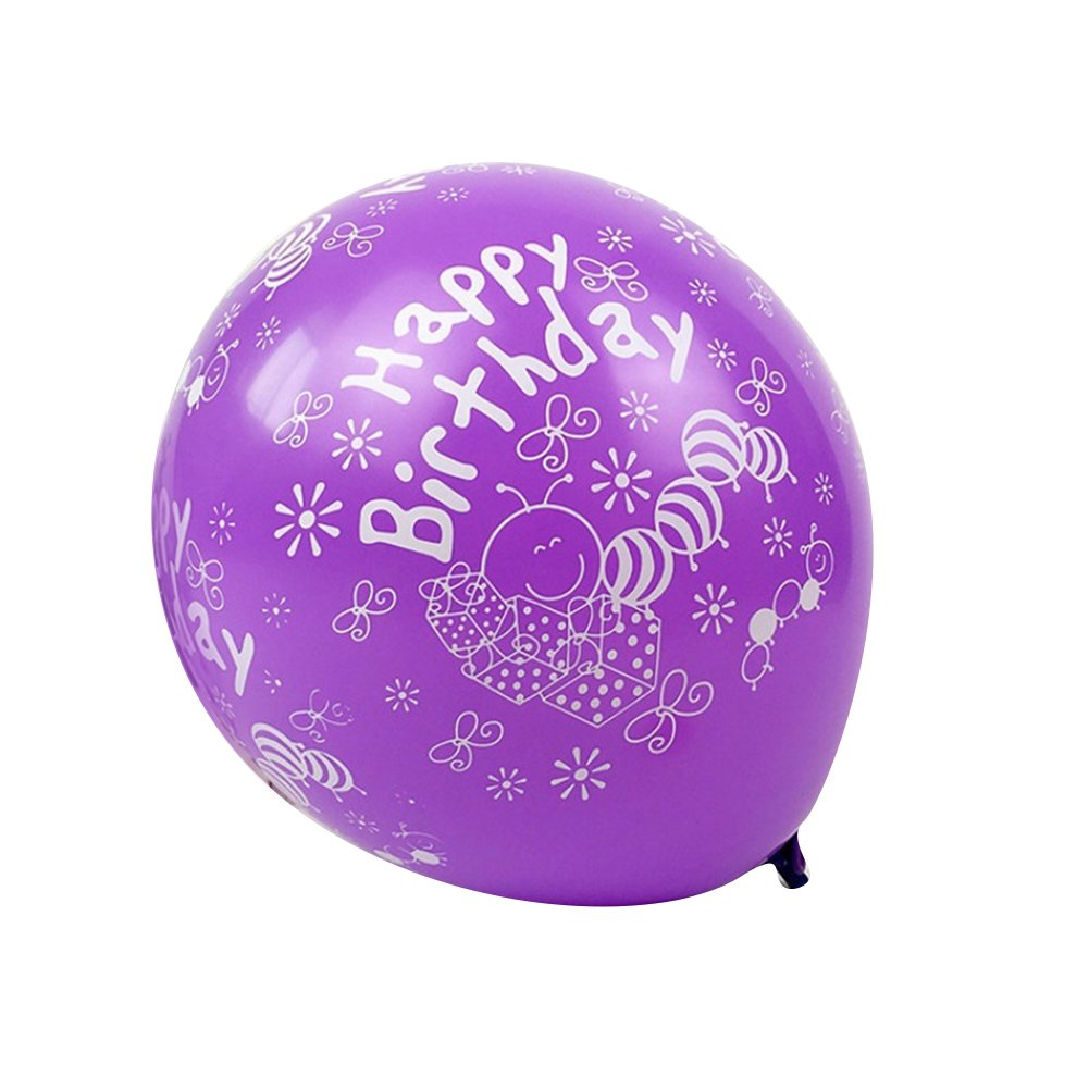 Slendima 20 Pcs 12 Inch Happy Birthday Latex Balloons Birthday Celebration Party Supplies Decor - Random Color Random Color&Pattern