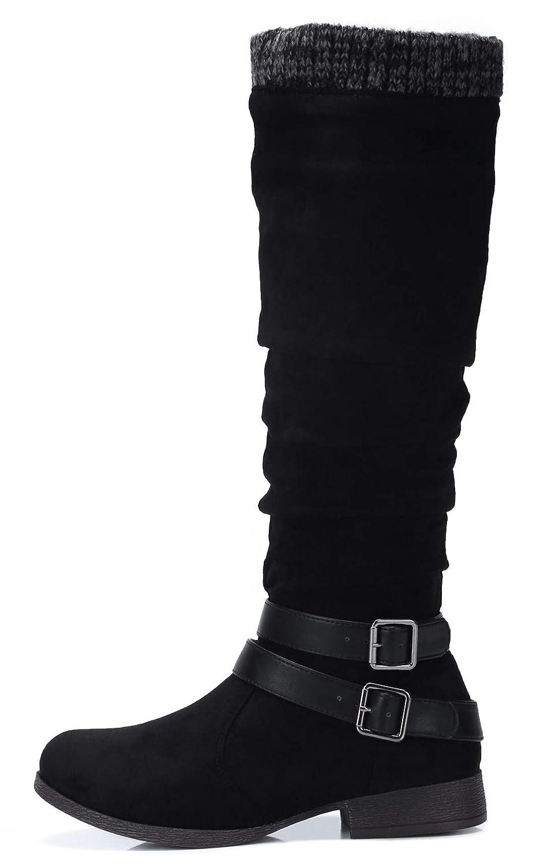 Damen Hohe Stiefel Langschaft Langschaft Langschaft Stiefel mit Blockabsatz Schnallen Flandell 508b63