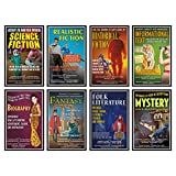 Shine a spotlight on literary genres with this innovative approach to teaching fundamental subject matter. Styled after vintage movie posters, this bulletin board set acquaints students with eight major genres of literature, highlighting common theme...