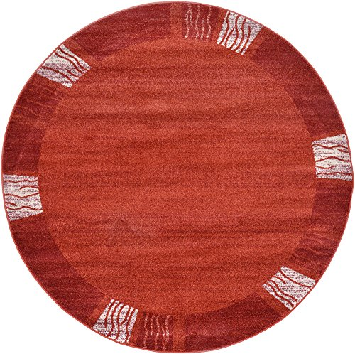 - Unique Loom Del Mar Collection Contemporary Transitional Rust Red Round Rug (6' x 6')