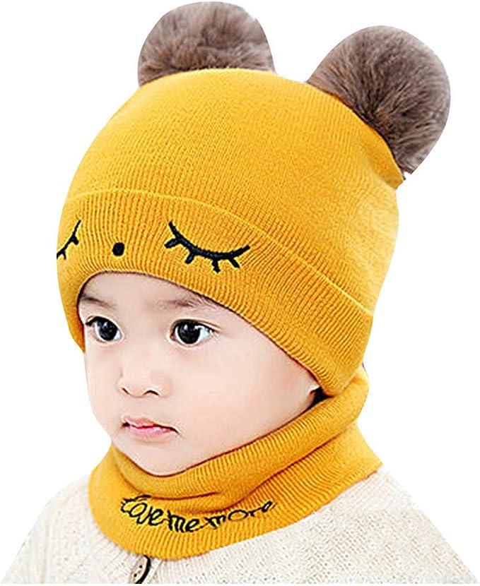 TWIFER Gorro de Croché para Bebé con Pompón Sombreros Gorras ...