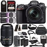 Nikon D500 DSLR Camera with 16-80mm Lens + Nikon AF-S DX NIKKOR 55-300mm f/4.5-5.6G ED VR Lens + Rechargable Battery + Charger + Sony 64GB SDXC Card + HDMI Cable + Case + Remote + Cloth + Flash Bundle