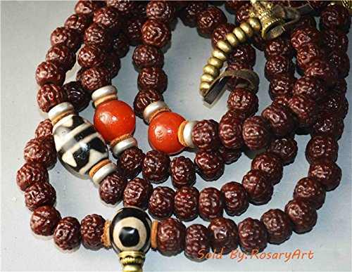Genuine Nepal bodhi seed bracelet 6 faced mukhi rudraksha six face jingang puti Chinese prayer beads tibetan antique old buddhist worry mala rosary necklace authentic buddha Amulet Tibet Talisman China Tibetan komboloi tasbih misbaha tiger tooth dzi bead gzi double water wave stripe pema raka nanhong red agate carnelian 108 natural (Antique Faces Necklace)