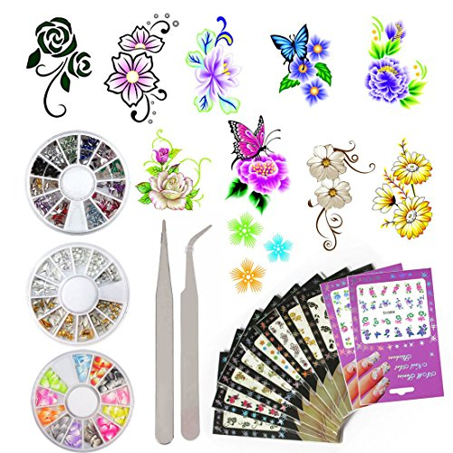 10 Pack Flower Nail Art Stickers Decals Water Slide Sticker Decal 3 Boxes Acrylic Nail Rhinestones Decorations Fingernail Accessories (10 Pack Style 2) (Fingernail Tattoos)